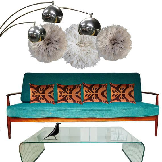 Gorgeous Mid-Century Danish sofa, sculptural teak frame with original deep turquoise cushions. Iconic Mid Century Modern...