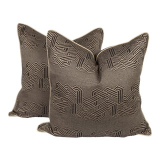 Charcoal Geometric Serpentine Pillows, a Pair For Sale