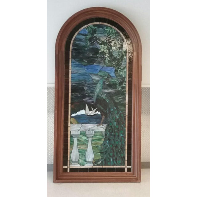 Boho Chic Peacock Stained Glass Arch Window For Sale - Image 3 of 3