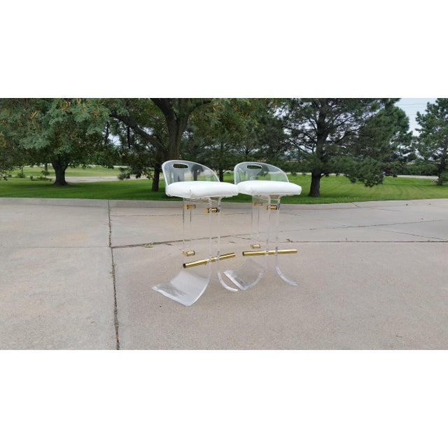 Vintage Charles Hollis Jones Style Lucite Stools - a Pair For Sale - Image 11 of 11