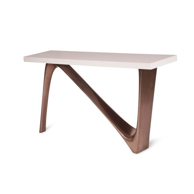 Contemporary Amorph Aviva White Lacquered Top and Bronze Base Console For Sale - Image 3 of 9