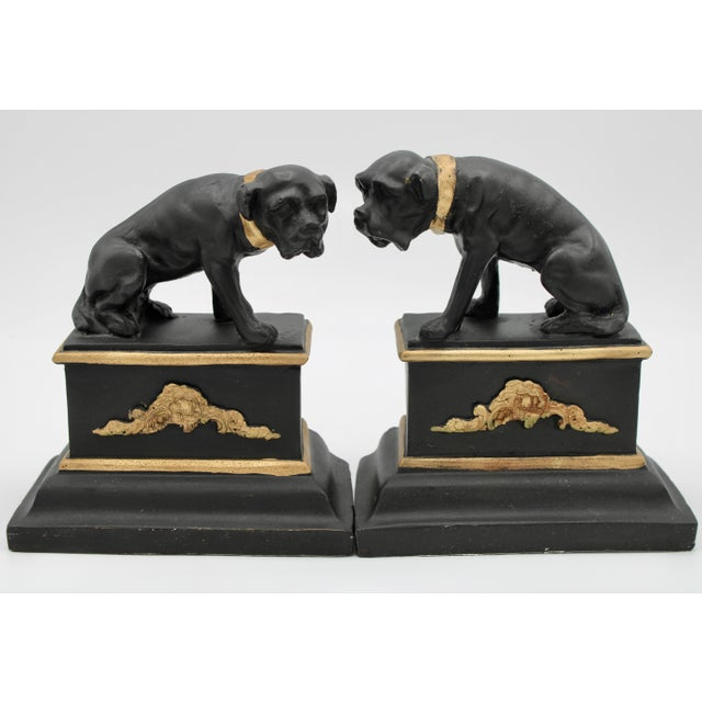 Mid 20th Century Black and Gold Ceramic Dog Bookends For Sale - Image 13 of 13