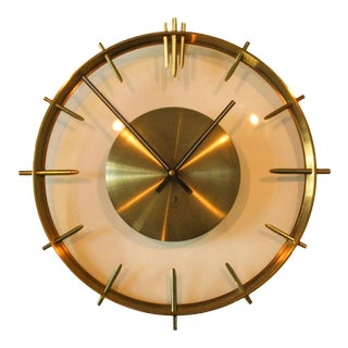 Vintage Mid-Century Clock in Brass and Glass by Jaz For Sale