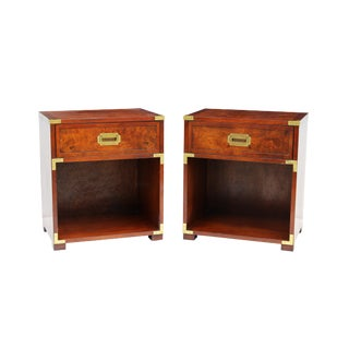 Hekman Burl Campaign Nightstands - a Pair