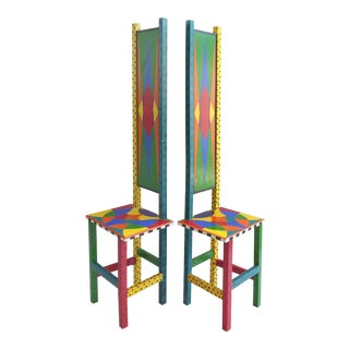 Memphis Style Sculptural Chairs - a Pair