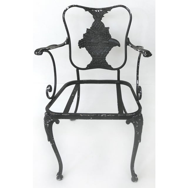 Wrought Iron Vintage Shabby Chic Garden Armchairs With Loose Seat Cushions, Pair For Sale - Image 9 of 10