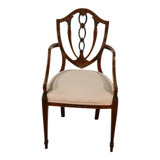 Finely Paint Decorated Adams Style Shield Back Armchair For Sale