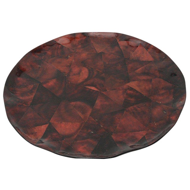 1970s Boho Chic Maitland Smith Tesselated Coconut Shell Tray For Sale