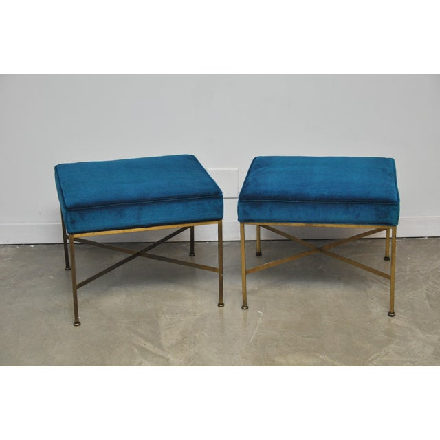 Mid-Century Modern Pair of Brass X-Base Stools by Paul McCobb For Sale - Image 3 of 7