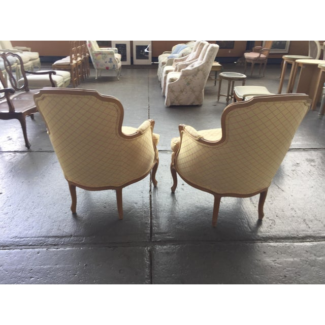 Cream Vintage Cream and Pink Striped French Style Bergere Chairs - a Pair For Sale - Image 8 of 9