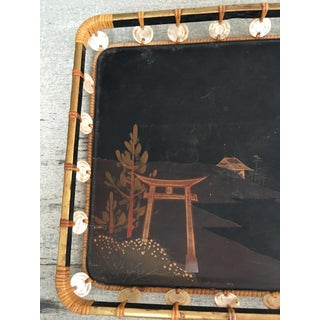 Mid-Century Japanese Lacquer Woven Rattan and Mother of Pearl Tray Preview
