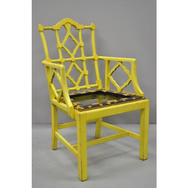 Chinoiserie Hollywood Regency Yellow Fretwork Armchairs - a Pair For Sale - Image 4 of 11