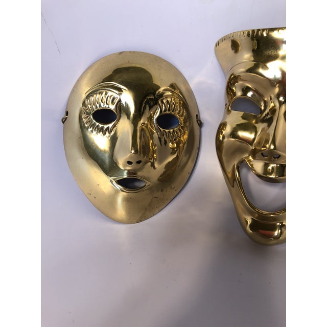 1970s 1970s Contemporary Solid Brass Decorative Theater Masks - a Pair For Sale - Image 5 of 6