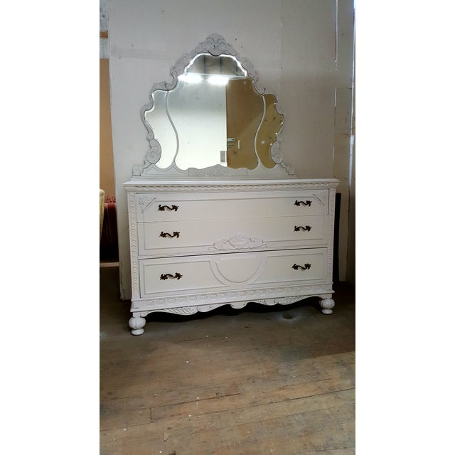 French Provincial White Carved Wood Dresser With Mirror - Image 2 of 9