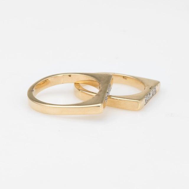 Modern Vintage Set of 2 Stacking Rings Diamond 14 Karat Yellow Gold Bridge Square For Sale - Image 3 of 7