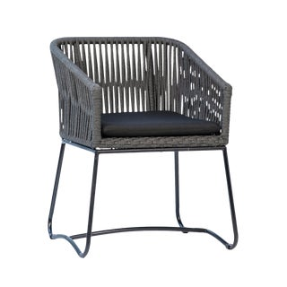 Black & Grey Rope Dining Chair For Sale