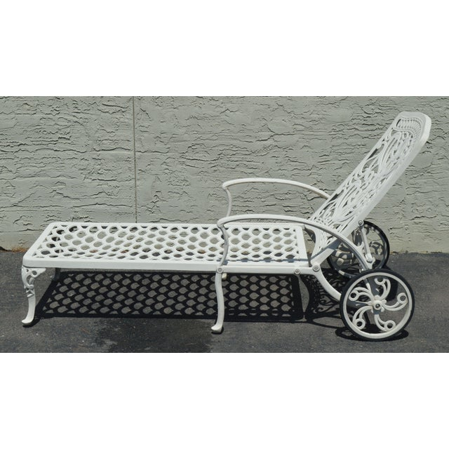 1990s Quality Pair Cast Aluminum Patio Chaise Lounges For Sale - Image 5 of 13