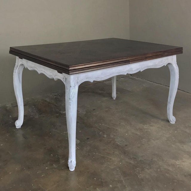 Antique Country French Draw Leaf Painted/Stained Dining Table For Sale - Image 11 of 12