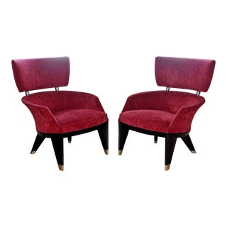 Contemporary Modern Pair of Leon Krier for Giorgetti Armchairs 1990s Italy Red For Sale