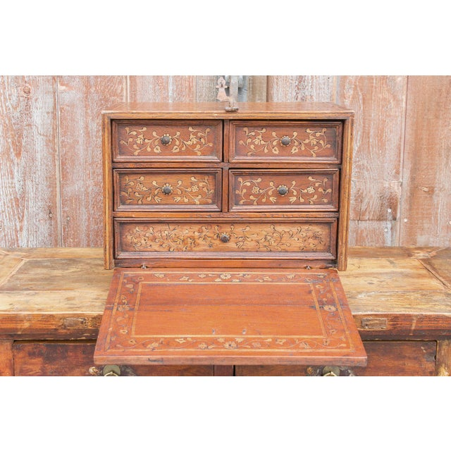 Brown Spanish Vine Motif Wood Inlay Bargueno For Sale - Image 8 of 13