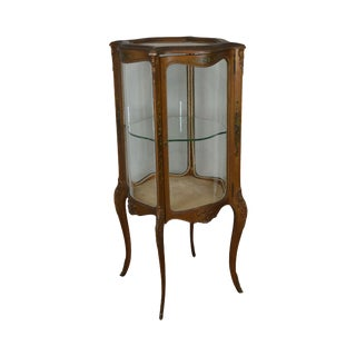 French Louis XV Style Antique Vernis Martin Hand Painted Vitrine Display Cabinet For Sale