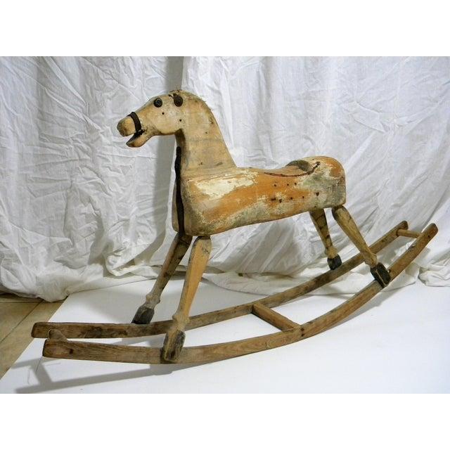 Antique Primitive Rocking Horse For Sale - Image 4 of 6