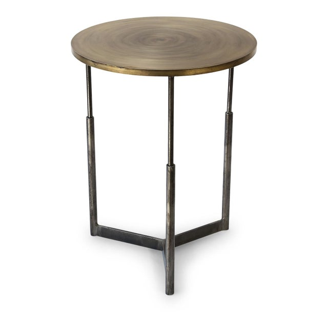Custom Steel and Brass Side Table For Sale - Image 9 of 9