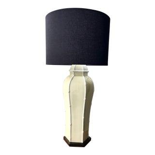 1970s Bamboo Design Tall Porcelain Ginger Jar Lamp For Sale