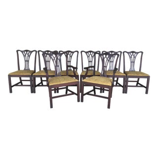 Georgetown Galleries Solid Mahogany Chippendale Style Dining Chairs - Set of 8 For Sale