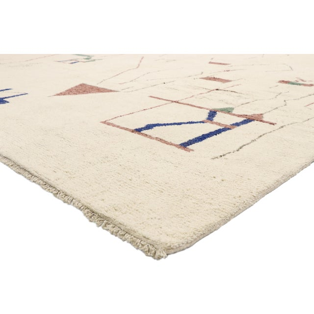 80545, contemporary oversized Moroccan rug with Brutalist style. Recalling the Brutalist influence of mid-century designer...