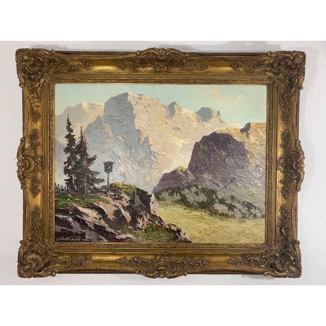Swiss Alp Mountain Scene, oil on canvas. painting. Artist name partially legible - Arnold Frabred. Painting framed in...