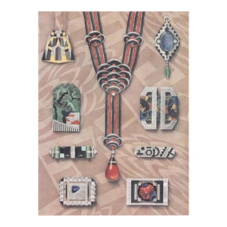 Matted Iconic French Art Deco Jewelry Lithograph For Sale