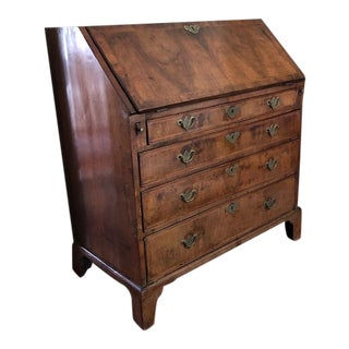 Antique Queen Ann Walnut Slope Front Secretary Desk For Sale