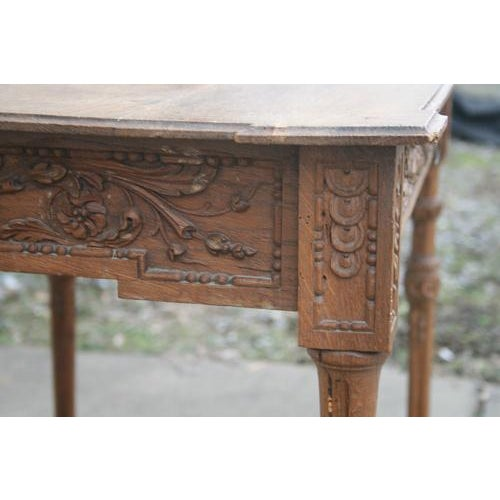 French 18th Century French Oak Table With Carvings and Single Drawer For Sale - Image 3 of 8