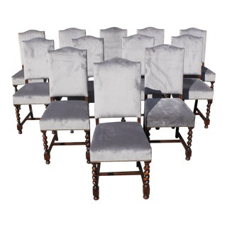 1900s Vintage Louis XIII Style Barley Twist Solid Walnut Dining Chairs- Set of 12 For Sale