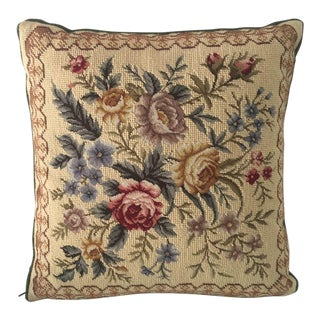 "French Country Style Floral Needle Point Pillow 16""x 16"""