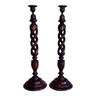 Vintage English Barley Twist Style Candlesticks - a Pair For Sale
