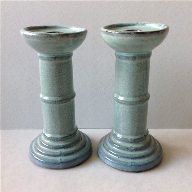Glossy sea foam green and light blue glaze. Perfect for a seaside shabby-chic home.