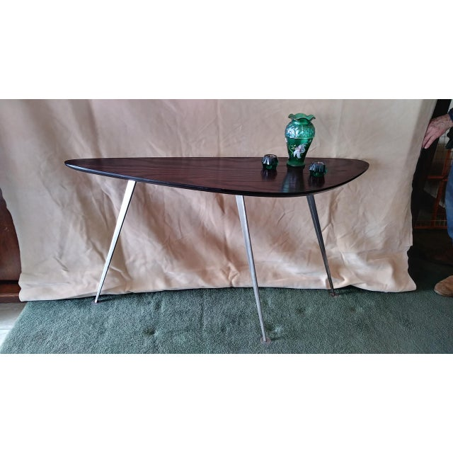 For your consideration, a unique artisan console table. It has a quite unique shape to it with its long guitar pick,...