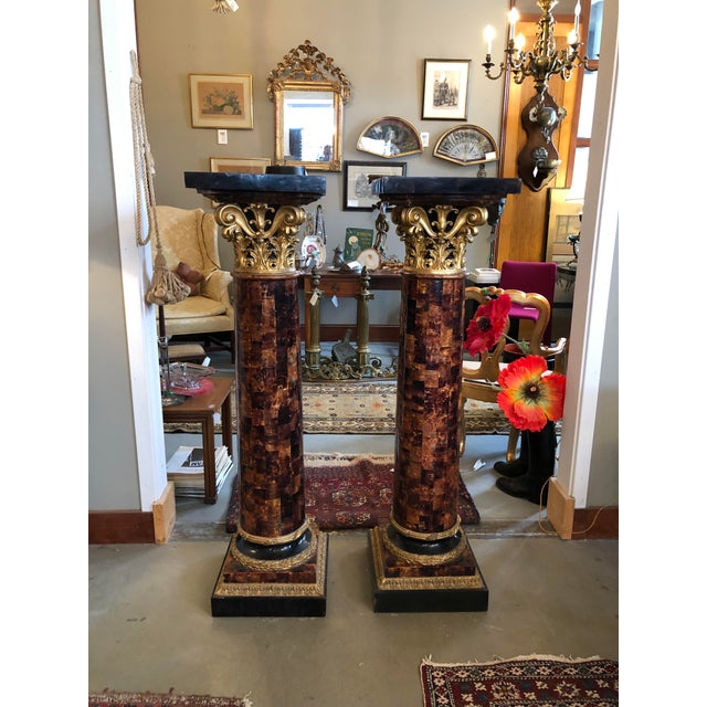 1900s Louis XV Gilt Corinthian and Verified Tortoise Shell Pedestals - a Pair For Sale - Image 11 of 11