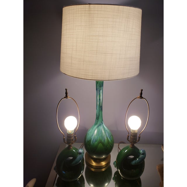 1960s Vintage Royal Haeger Teal Drip Glaze Pottery Lamps - Set of 3 For Sale - Image 12 of 13