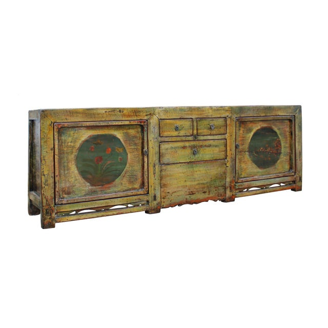 Chinese Distressed Green Brown Oriental Flower Graphic Tv Console Cabinet For Sale In San Francisco - Image 6 of 10