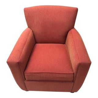 Contemporary Crate & Barrel Custom Orange Armchair