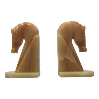 1970s Vintage Mexican Onyx Horse Head Bookends - a Pair