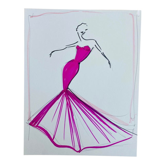 """Fuchsia Trumpet Gown"" Original Christian Siriano Sketch For Sale"