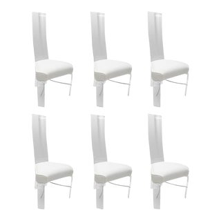 Lucite & Chrome Dining Chairs With White Upholstery - Set of 6
