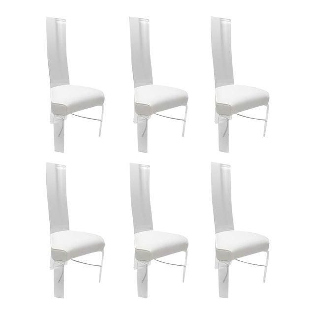 Lucite & Chrome Dining Chairs With White Upholstery - Set of 6 For Sale