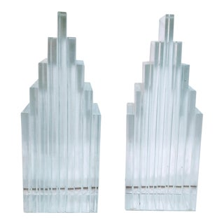 Vintage Levenger Skyscraper Glass Bookends - a Pair For Sale