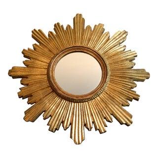 Italian Hollywood Regency Florentine Sunburst Mirror For Sale
