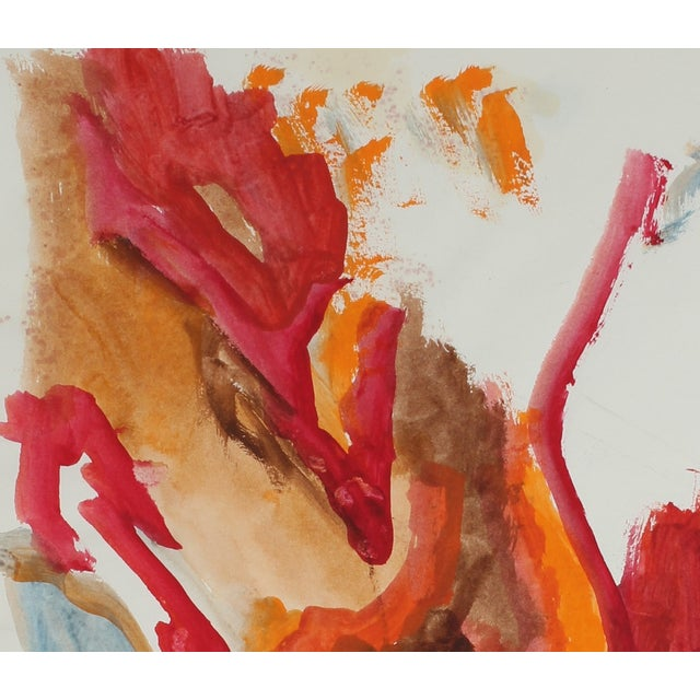 Vintage 1967 Abstract Bay Area Gouache Painting - Image 2 of 2
